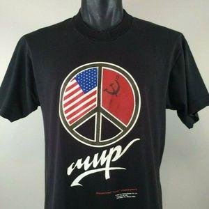Vintage 1990 USA USSR Peace Sign T Shirt Sz Large